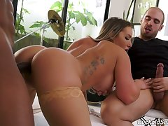 Cuckold jerks wanting dick while whore wife Cali Carter moans lower than beneath hot blooded BBC