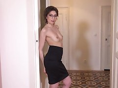 Sex-starved Czech chick in glasses Meggie Marika plays with say no to hairy muff