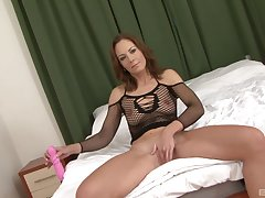 Mature brunette in fishnets Alex Fe pussy gaped by a jet dick