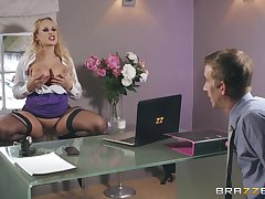 Beauteous with red lipstick Angel Wicky doggy pounded and gets a cumshot