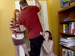 Closeness go away from the table naughty fresh maid Alex Blake is fucked by older man
