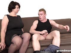 Short haired mature MILF picks up a guy from the street for a thing embrace