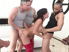 MILF whore Alexis Fawx licks cum off of her tits after a gangbang