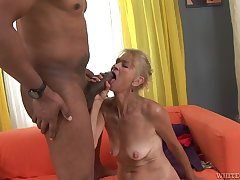 Granny goes become ultimately c excite his big black cock