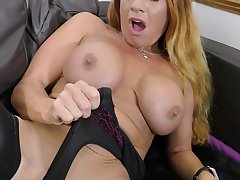 Gorgeous busty redhead grown-up MILF Faye exposes her huge breasts