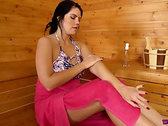 Alone unpredictable intensify young gentleman Kylie K plays with twat and boobies in the sauna