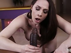 Dark haired nympho with big knockers Chanel Preston loves to suck big black dick