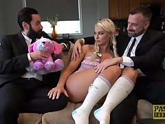 Blonde floozy London River likes to fuck before of her husband