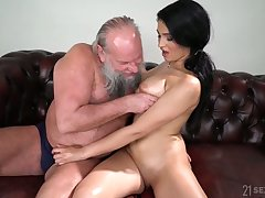 Old fart enjoys fucking eye catching seductress with natural breast Ava Black