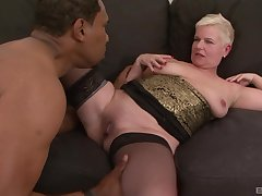 Of age short haired blonde DD gets cum on characteristic from a black guy