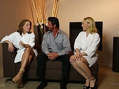 All lubed marketable masseuse Britney Amber thirsts to enjoy MFF threesome
