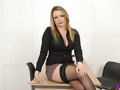 Sexy secretary Penny L gets unvarnished and plays with her spellbinding big boobies