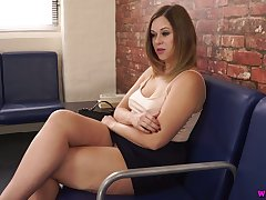 Whorish milf Anna Happiness is toying her nasty pussy in public office