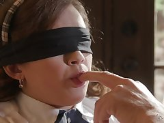 Blind folded schoolgirl ends up having sexual intercourse with her grandpa