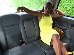 Hot ebony spreads her legs for a driver's hard cock in the hansom cab