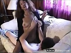 Hot Sexy Brunette Smoking increased by Riding Cock